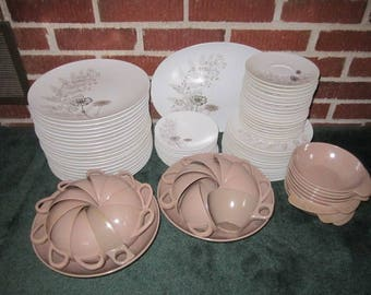 Vintage Mid Century Modern Large 89 pc Set Melmac Brown and White Melamine Dinnerware Set