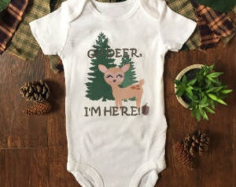 Oh deer im here - oh deer i'm here - oh deer onesie® - oh deer im here outfit - deer onesie®, woodland onesie®, baby arrival outfit, newborn