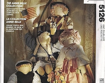 Annie Belle Collection / Stuffed Doll and Cloths Patterns / Original McCall's Crafts Uncut Sewing Pattern 5126