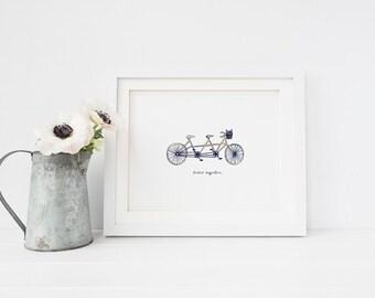 Mejor juntos - impresión del arte - Arte de la pared - Tandem bicicleta ilustración - bici arte