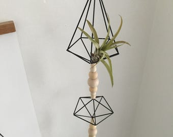 Hanging Black Carbon Fibre Himmeli Garland • Air Plant Holder • Scandinavian • Geometric Decor • Monochrome