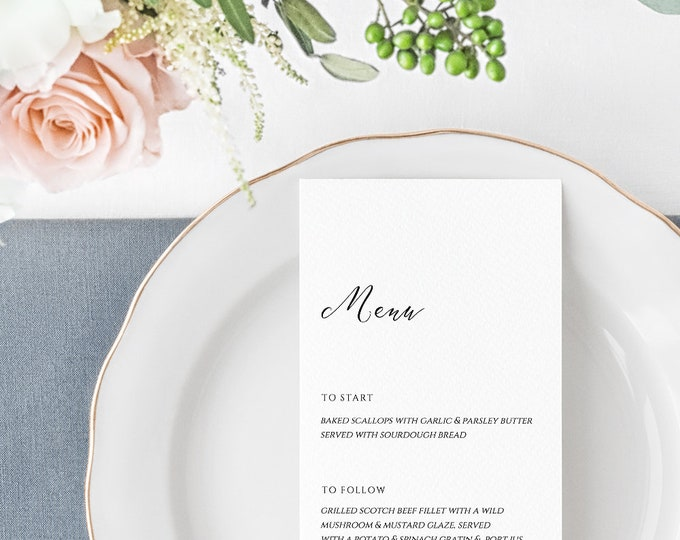 Featured listing image: Mirabelle Printable Wedding Menu, Instant Download