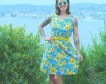 Dress Vintage 70s cotton yellow green blue T.44