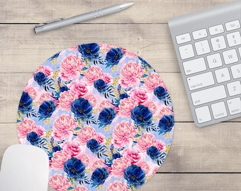 French Floral Mouse Pad, Watercolor Mouse Pad, French Mouse Pad, Pink Mouse Pad, Blue Mouse Pad (0075)