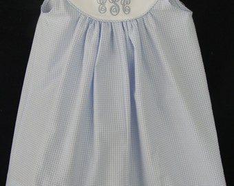 Easter Girl dress Seersucker Gingham Monogram Sizes  3-24 Month