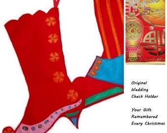 Original Keepsake Wedding Check Holders - Custom Victorian Christmas Stockings- Pair Custom Stockings - Christmas Decor -