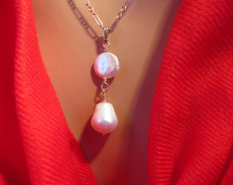 Freshwater pearl necklace 14K gold filled chain.