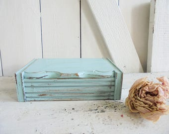 Wooden box crate unique jewelry box turquoise
