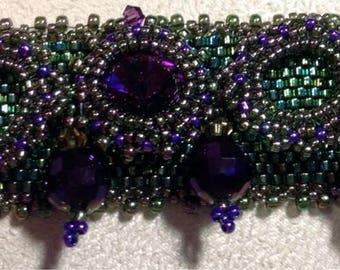 Purple and Green Beadwoven Bracelet