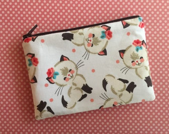 Cute kitty cat pouch - small zipper pouch - cat lovers gift - gift for cat lady - vintage kittens bag - cat bag - cat clutch - cat pouch
