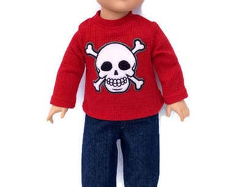18 Inch Boy Doll Skull and Crossbones Shirt and Blue Jeans, Red Thermal Pirate Shirt, Boy Doll Clothes, Winter Doll Clothes, Upcycled, OOAK