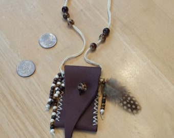 Genuine Leather medicine or amulet pouch