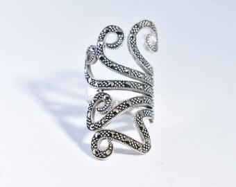 Vintage Marcasite filligree 925 Sterling Silver Ring