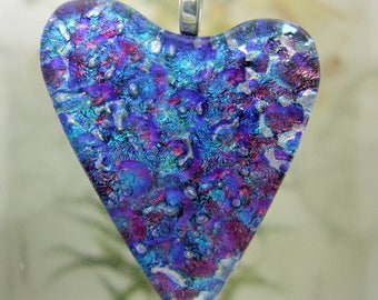 Waterlily Dichroic Glass Heart Pendant, Fused Glass Jewelry Handmade in North Carolina