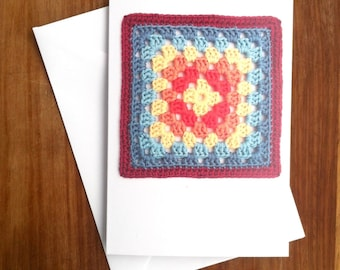 Recycled Greetings Card Crochet Granny Square Blank Gift for Crocheter Notecards Recycled