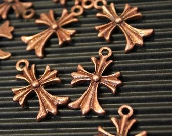 20 pcs - Antique Copper Cross Charm Pendants - 16mm x 23mm - Nickel free