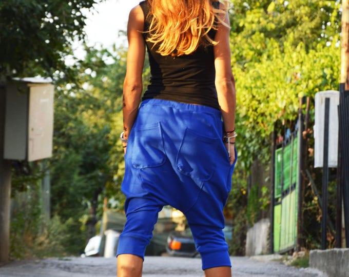 Loose 3/4 Turkish Blue Pants, Drop Crotch Pants, Extravagant Capri's Pants, Casual Pants by SSDfashion