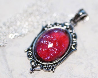 Pink Dragons Breath Necklace Victorian Vine Vintage Cabochon Pendant on Sterling Silver Chain Art Nuevo