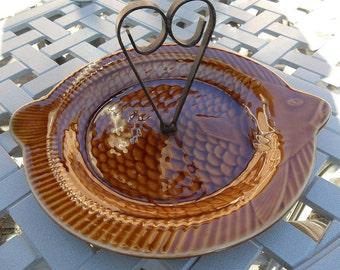 Vintage Amber Fish Platter