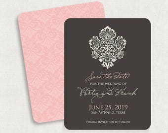 Damask Save the Dates, Gray and Pink Save the Dates, Printable Save the Dates, Damask Save the Date Magnets, Pink Save the Date Magnets, PDF