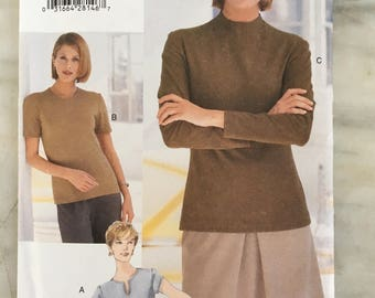 vintage Vogue 9904 UNCUT pattern, sizes 6-8-10, Misses' top, loose fitting pullover, stretch knits, 1998, 90s fashion