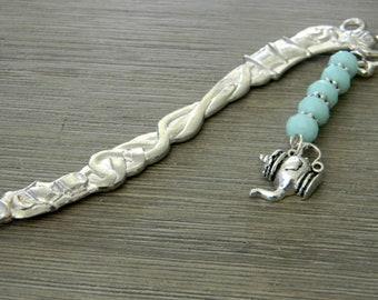 Teapot Bookmark with Mint Blue Glass Beads Silver Color Shepherd Hook Bookmark Tea Design