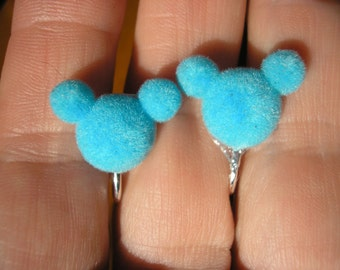 Play Earring - Clip or Pierced - Mouse Head - Flocked Blue - 1/2""