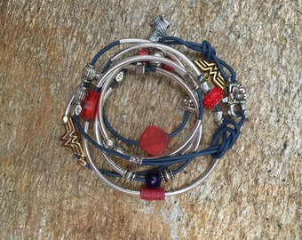Wonder Woman Leath Wrap Bacelet with Stones