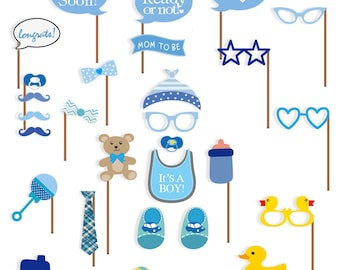 Baby Shower Photo Booth props, 29 pcs attached to the stick, NO DIY REQUIRED its a boy, baby shower decoration