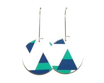 "Large recycled corrugated cardboard ""triangles"" earrings"