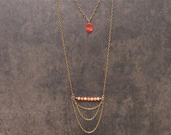 Vintage 1950's Czech Glass Leaf with Moonstone Necklace; Long Boho Necklace; Multilayer Necklace