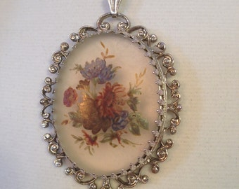 Whiting & Davis Silver Tone Pendant Necklace, Victorian Revival Floral Cameo Necklace, Oval Center With Painted Bouquet.