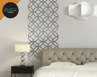 Geometric Circle Lattice Vinyl Wall Decal Stripe - STR009