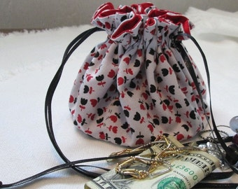 Hand Made Jewelry/Mini Travel Purse/Pouch with Drawstring - Tulips