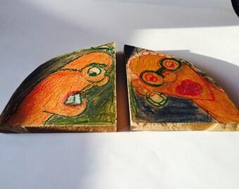Helen Rae Outsider Art Crayons on Wood Primitive Folk Art Pair