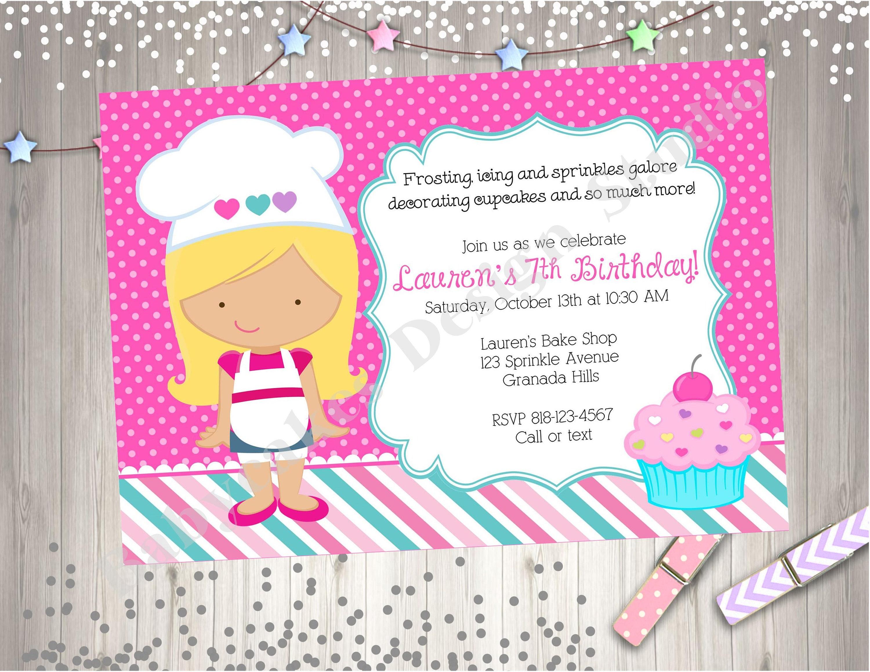 Cupcake decorating party invitation invite cupcake birthday