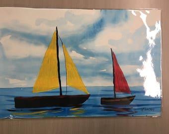 Sailboats original watercolor painting