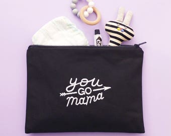 Embroidered Nappy Pouch - Slogan Nappy Clutch - You Go Mama Embroidered Pouch - Alphabet Bags