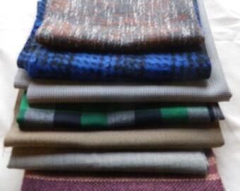 Bundle of Vintage Tweed Tartan Wool Fabric Pieces  (6)