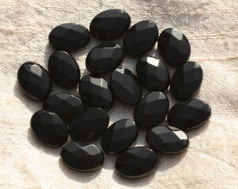 2PC - 4558550015624 14x10mm faceted oval Black Onyx stone - beads