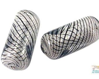 2 beads tube glass spiral black 10x27mm (pv626)