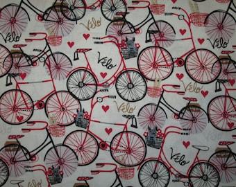 Bicycles Bike Hearts Velo Red White Black Fat Quarter or Custom Listing