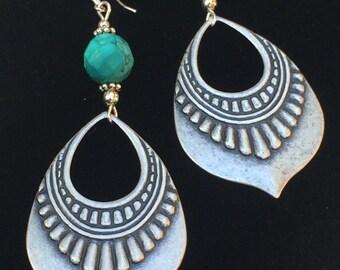 Silver tribal earrings, Art Deco earrings, turquoise earrings, large earrings, long, Boho dangle earrings, ethnic