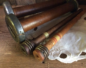 Vintage mill bobbins and spindles ~ rich patina and honest wear from years of factory work