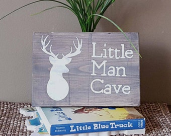 "Little Man Cave 5.5""  x 7.5"" Hand Painted Wooden Sign"