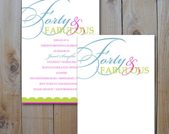40th Birthday Invitation / 40 and Fabulous / Instant Download  / JPEG INVITATION TEMPLATE / #5318