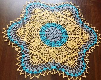 READY TO SHIP New yellow crochet doily-gray doily-blue doily-crochet tablecloth-yellow napkin-gray crochet doily