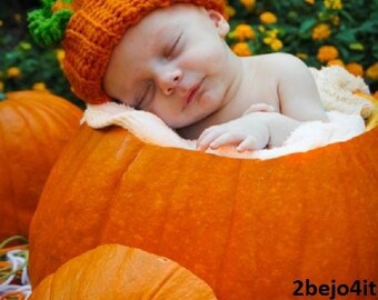 baby pumpkin hat orange hat crochet beanie photo prop fall hat