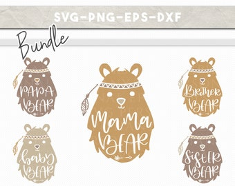 svg bundle bear family, handlettered mama bear baby bear, boho clipart, kids room, nursery wall decor, cricut, silhouette cameo, dxf eps png