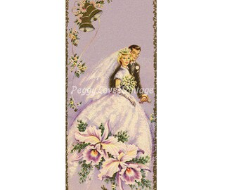 Wedding 10 Bride and Groom with Orchids a Digital Image from Vintage Greeting Cards - Instant Download